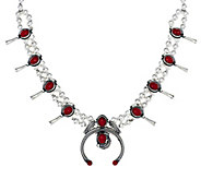 American West Sterling Red Coral Squash BlossomNecklace - J341461