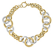 14K Gold Two-Tone Polished & Textured Link 8-1/4 Bracelet - J343661