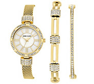 Anne Klein Goldtone Watch & Swarovski Crystal Bracelet Set - J344761