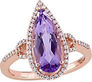 14K Gold 2.25 ct Amethyst & 1/5 cttw Diamond Ring - J345261