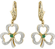 Solvar Diamond & Emerald Accent Shamrock Earrings, 14K - J345761