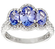 3-Stone Oval Tanzanite Sterling Silver Ring, 1.50 cttw - J345961