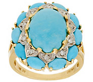 As Is Sleeping Beauty Turquoise & Diamond Cluster Ring, 14K - J346261