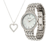 Bulova Ladies Stainless Steel Crystal Watch and Necklace Set - J347661