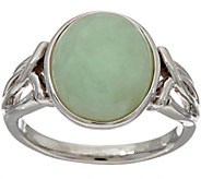 Burmese Jade Oval Sterling Silver Ring - J348161