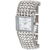 Isaac Mizrahi Live! Crystal Mesh Mother-of-Pearl Bracelet Watch - J350261