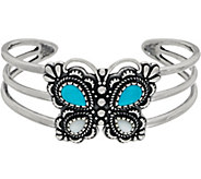Turquoise and Mother of Pearl Butterfly Cuff Sterling by American West - J350861