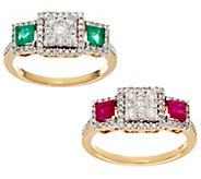 Princess Cluster Diamond &Gemstone Ring, 14K, 1/2 cttw, by Affinity - J56361