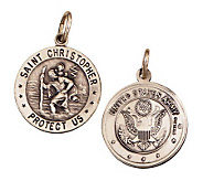Sterling Saint Christopher/ Army Emblem Medal Charm - J108262