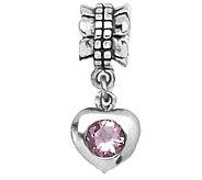 Prerogatives Sterling Pink Cubic Zirconia HeartDangle Bead - J109362
