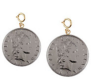 Set of 2 Fifty-Lire Coin Charms, 14K Gold - J110562