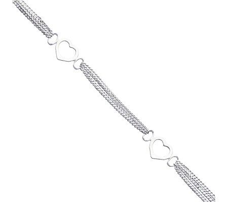 "Sterling 10"" Polished Heart Anklet by Qvc"