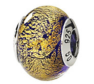 Prerogatives Sterling Gold/Purple Italian Murano Glass Bead - J111762