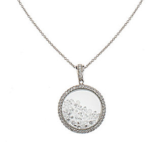 Epiphany Platinum Clad Diamonique Floating Stone Pendant w