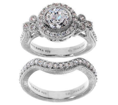 judith ripka sterling 185ct diamonique bridal ring set page 1 qvccom - Qvc Wedding Rings