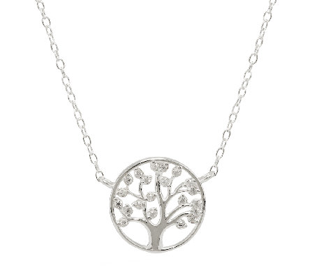 Sterling Crystal Adjustable Family Tree Necklace