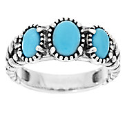 American West Sleeping Beauty Turquoise Sterling Silver 3-Stone Ring - J294562