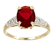 1.50 ct tw Red Fire Opal & 1/7 ct tw Diamond Ring 14K Gold - J294962