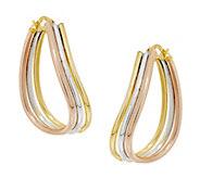 Vicenza Gold 1-1/4 Triple Tube Wave Hoop Earrings, 14K - J295162