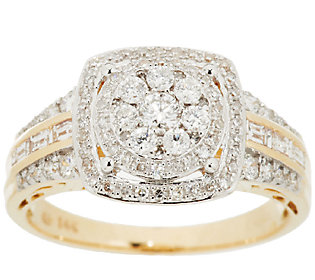 Product image of Round Cluster Design Halo Diamond Ring, 14K, 3/4cttw by Affinity