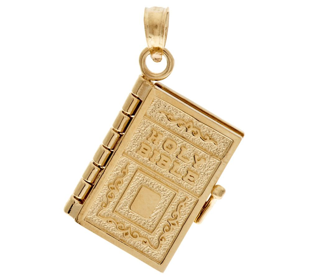 14K Gold Yellow Moveable Bible Pendant Page 1 QVCcom