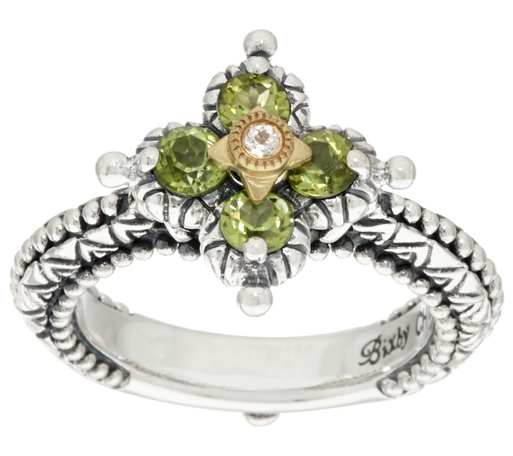 Barbara Bixby Sterling & 18k Multi Gemstone Flower Ring