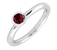 Simply Stacks Sterling 4mm Round Garnet Solitaire Ring - J298762
