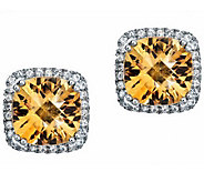 Sterling Gemstone and Topaz Cushion Earring - J310162