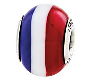 Prerogatives Sterling Red White Blue Italian Murano Glass Bead - J310362