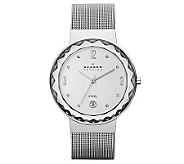 Skagen Womens Crystal-Accented Bracelet Watchw/ Faucet Bezel - J313662