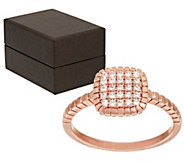 Bronze Pave Crystal Cushion Shape Ring by Bronzo Italia - J317562