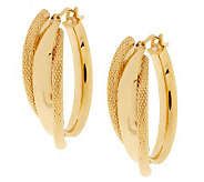 As Is Vicenza Gold 1 Polished & Textured Hoop Earrings, 14K - J318562