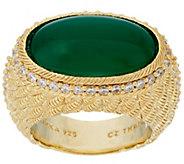 Judith Ripka Sterling & 14K Clad Oval Gemstone & Diamonique Ring - J321462