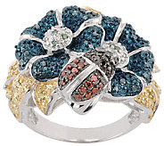 Flower Critter Multi-Color Diamond Ring, Sterling, 1/3ct tw, by Affinity - J322162