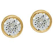Diamonique 1.00cttw Bezel Set Stud Earrings, 14K Gold - J324762