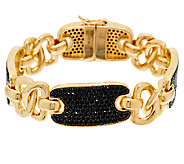 As Is Bronzo Italia Yellow 6.00cttw Black Spinel Status Link Bracelet - J327562