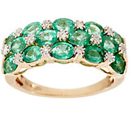 Zambian Emerald & Diamond Accent Wide Band Ring, 14K 1.80 cttw - J328262