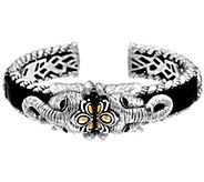 JAI Sterling & 14K Leather 68.0g Double Head Elephant Cuff - J329262