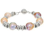 Honora Ming Cultured Pearl Textured Circle Sterling Bracelet - J329962