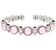 Judith Ripka Sterling Rhodolite & Cultured Pearl Cuff Bracelet - J330562