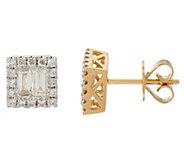 As Is Baguette Halo Diamond Stud Earrings, 14K, 8/10 cttw - J331162