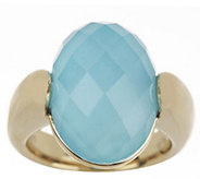 As Is 14K Gold Sleeping Beauty Turquoise Doublet Ring - J331362