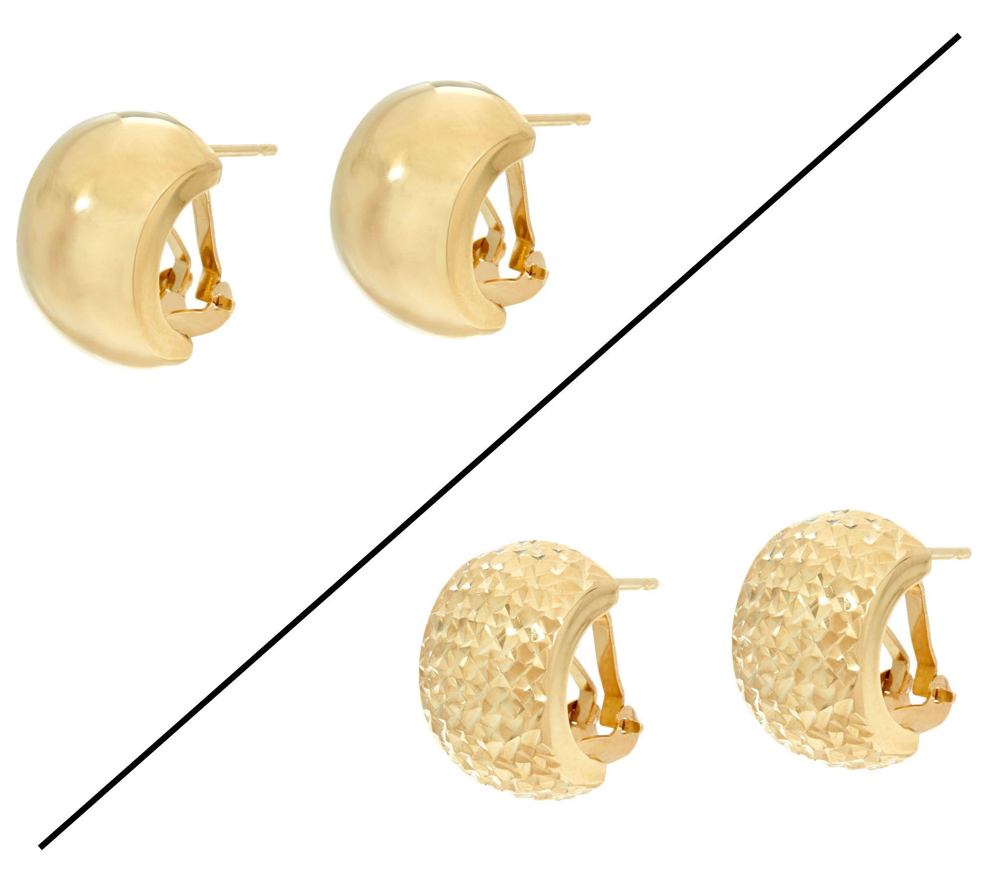 Dieci Omega Back Hoop Earrings 10k Gold Page 1 Qvc Com