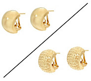 Dieci Omega Back Hoop Earrings 10K Gold - J332262