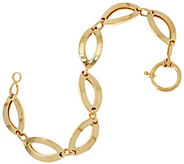 14K Gold 7-1/4 Polished Marquise Link Bracelet, 8.2g - J334662
