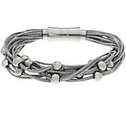Stainless Steel Multi-Strand Woven Bracelets with Bead Details - J335362