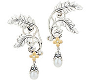 Barbara Bixby Sterling & 18K Feather Earring w/ Pearl Drop - J346962