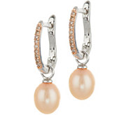 Honora Cultured Pearl & Diamond Sterling Silver Drop Earrings - J347562