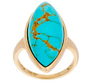 Golden Kingman Turquoise Marquise Ring 14K Gold - J349662