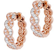 Natural Pink & White Diamond Hoop Earrings 14K, 3/4 cttw by Affinity - J349962